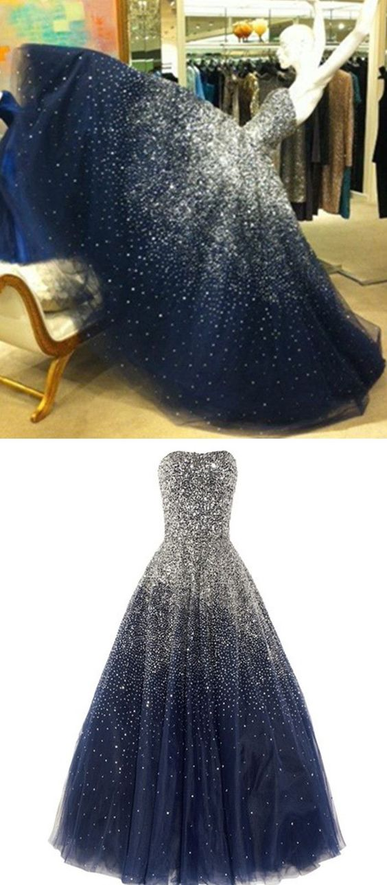2c2ebd64feae1b Princess Ball Gown Strapless Navy Blue Prom Dress With Sparkle Sequins  Corset Back Tulle Long Dark
