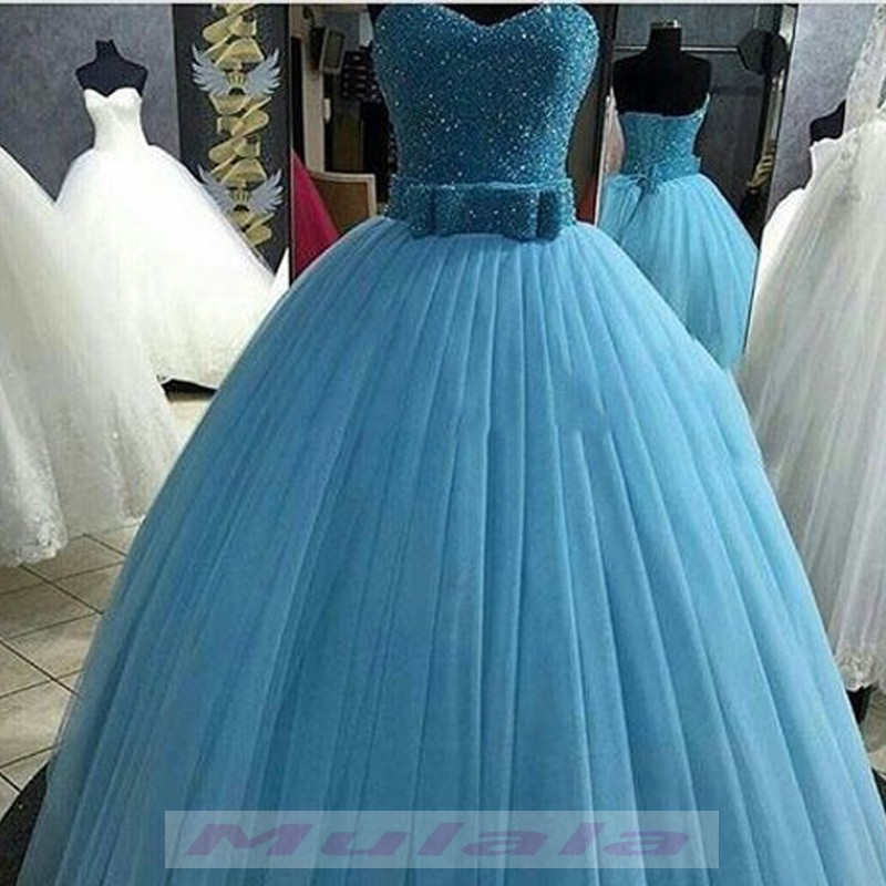 Bling Bling Crystal Beaded Quinceanera Dresses 2018 Sky Blue Pleat Ball Gown Sweet 16 Dresses Bow Belt Tulle Lace Up Prom Dresses Party Gowns Promyan