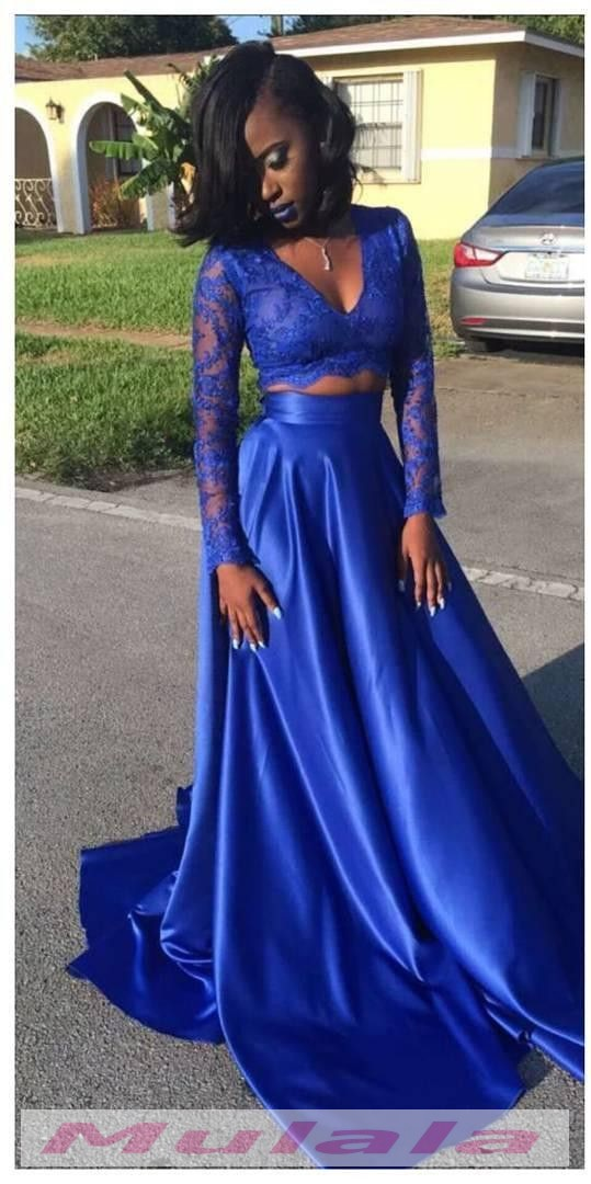 Royal Blue Two Piece Prom Dresses 2018 Long Sleeves Black