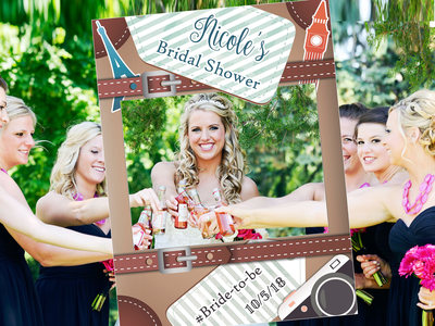 Large Personalized Travel Bridal Shower Photo Booth Frame Bridal