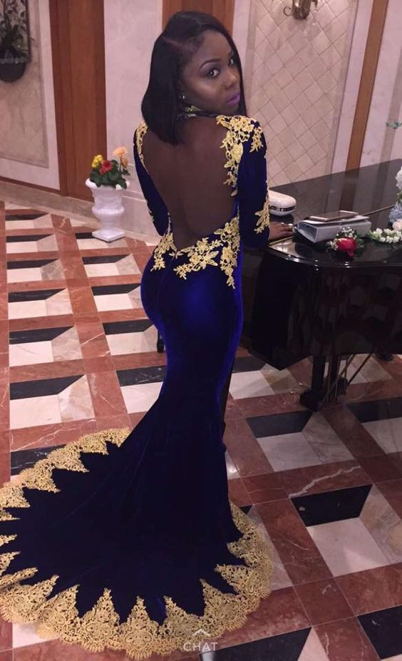 Royal Blue Mermaid Prom Dresses Gold Appliques Backless