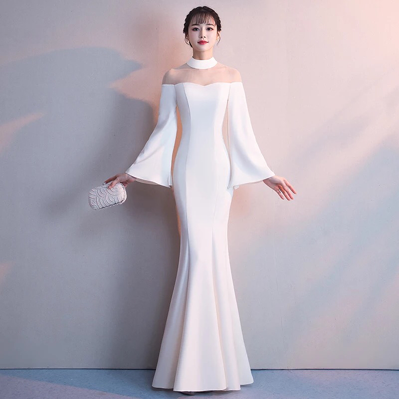 White Mermaid Prom Dress,Long Sleeve Satin Prom Dresses,High Neck ...