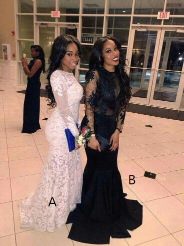 26bf82b41c65 Black/White Mermaid Prom Dresses Crew Neck Lace Appliques African Girl Black  Girl Evening Formal