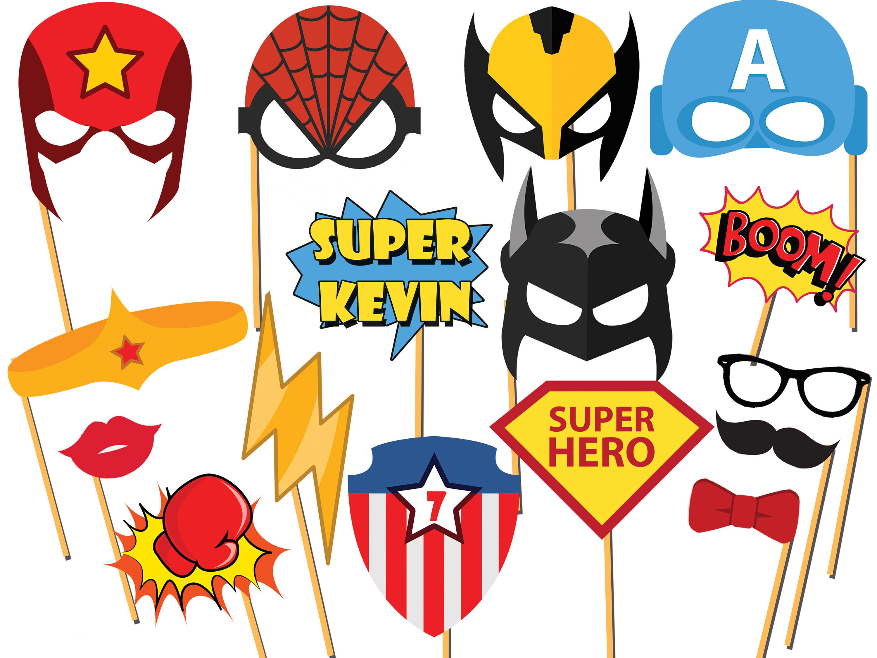 Personalized Superhero photo booth props, superhero party, Comic Book,  Speech Bubbles,Superhero Birthday Props, Photo Booth Props