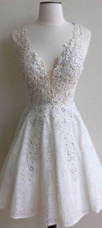 92295ce85ee Excellent A-line Home Coming Dress Lace V-neck Applique Short Prom Dress  DPB10097 ...
