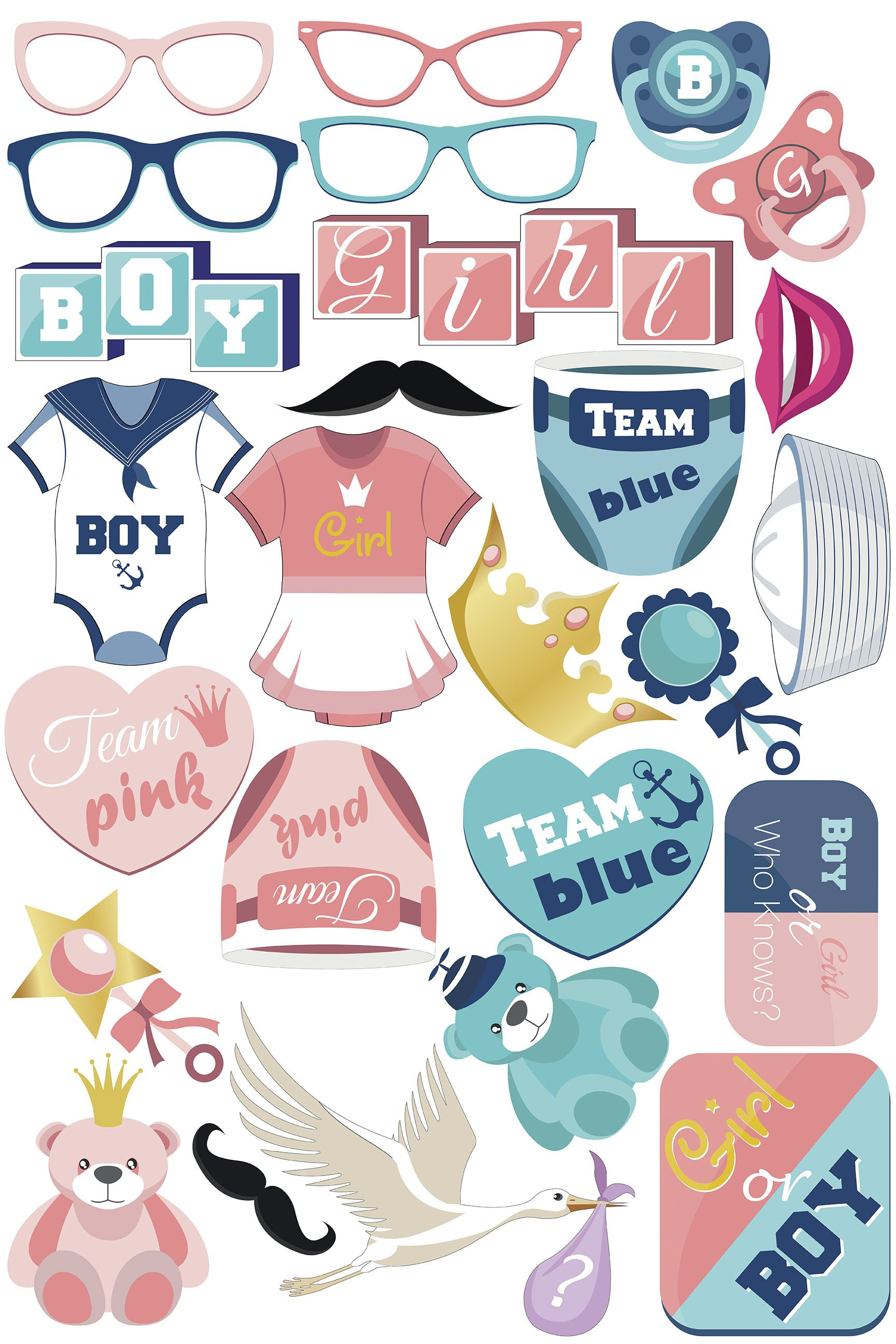 Personalized Gender Reveal Baby Shower Photo Booth Props Boy Or