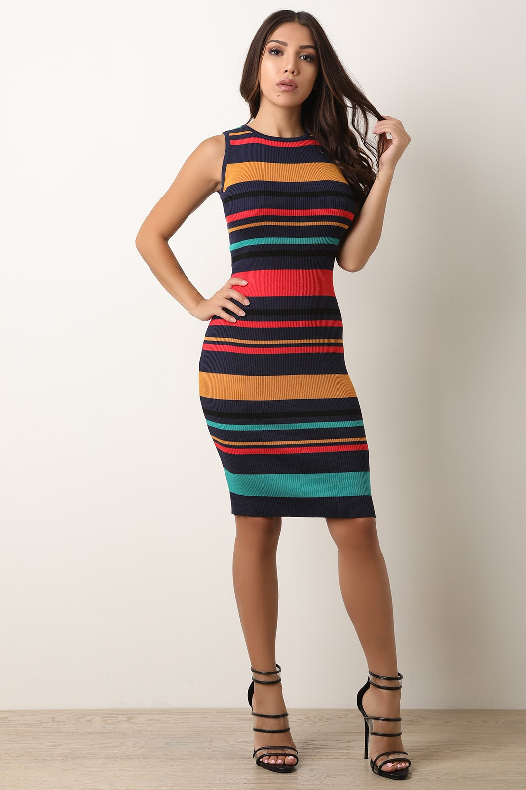 4f089d27fe27 Horizontal Striped Ribbed Knit Bodycon Dress on Storenvy