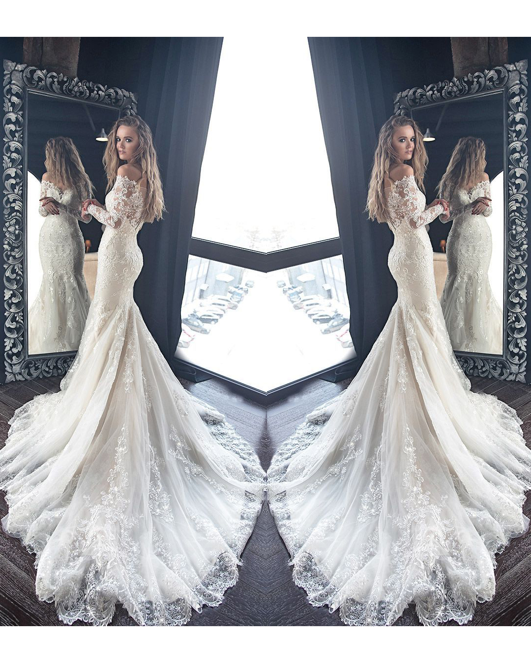 c3416729b8ca Gorgeous Ivory Lace Mermaid Long Sleeve Off Shoulder Wedding Dress With  Applique