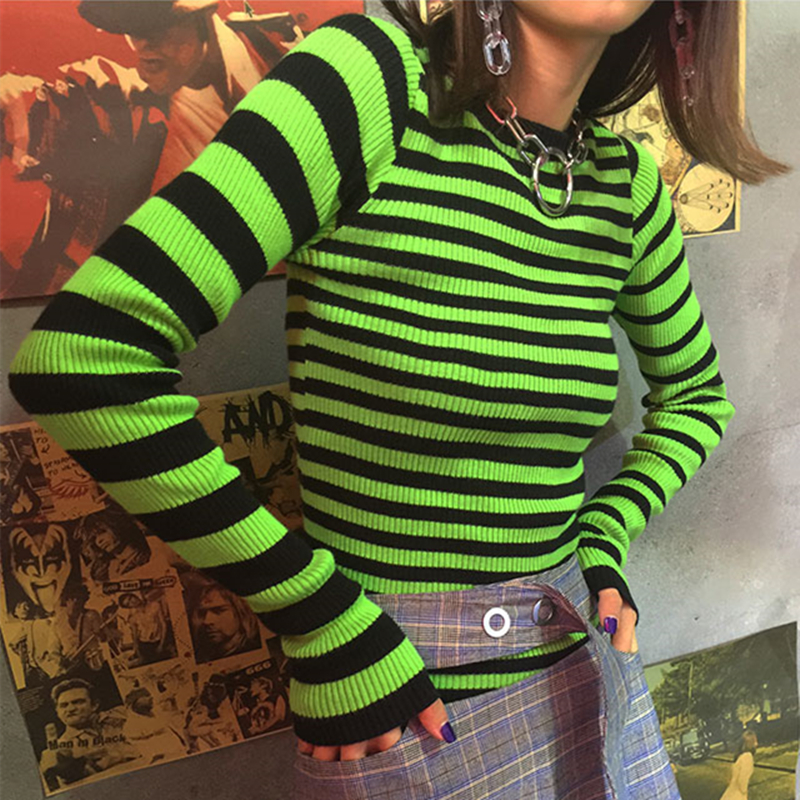 ffe43b44ec1b0c Unif Digit Top Contrast Striped Long Sleeve Sweater Ribbed Knit Tops on  Storenvy