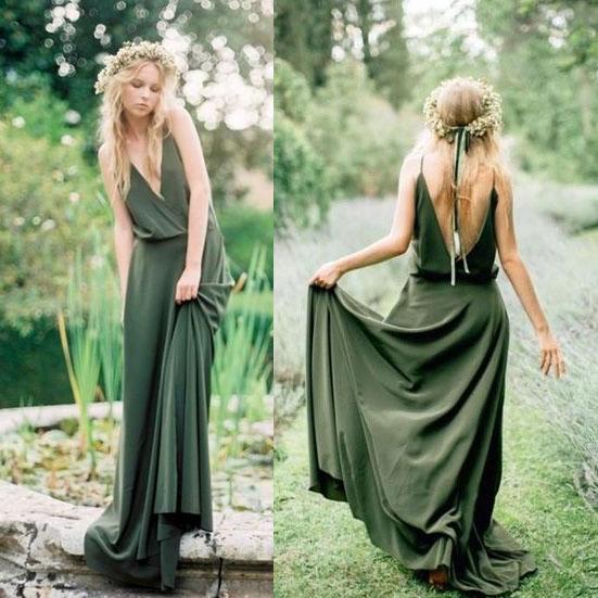 7951a6a6a Boho Olive Green V Neck Long Bridesmaid Dresses on Storenvy