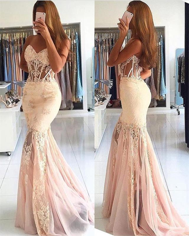 d204ff3d1b0 Elegant Lace Appliques Sweetheart See Through Corset Tulle Mermaid Prom  Dresses on Storenvy