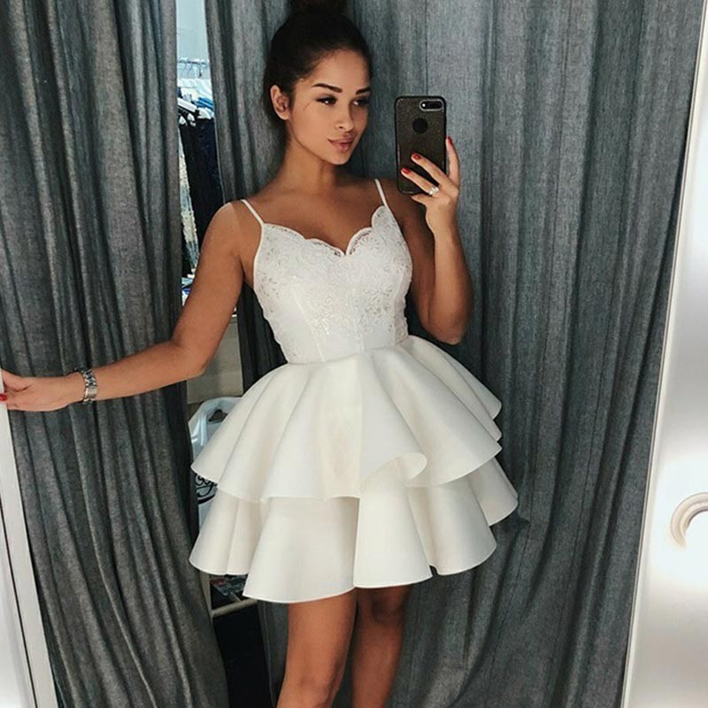 5f1a529b157 A-Line Spaghetti Straps White Short Homecoming Prom Dress with Appliques