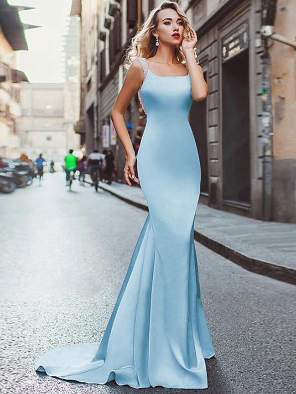 038481c83dc3 Chic Straps Light Sky Blue Mermaid Backless Long Prom Dresses Elegant  Evening Party Dresses on Storenvy