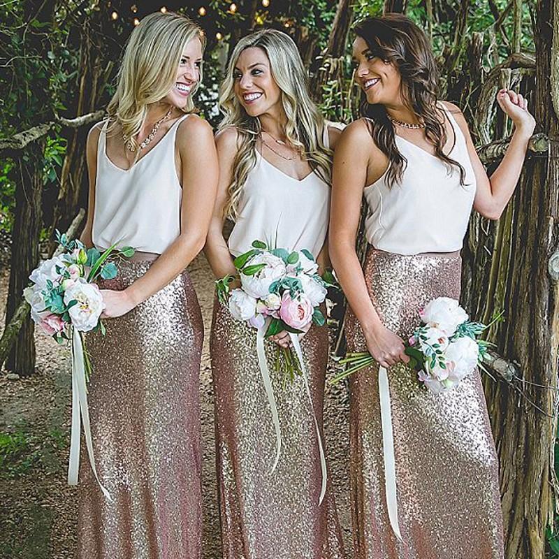 Sexy V Neck Casual Gold Sequin Mermaid Long Bridesmaid Dresses Online 3a425d441249