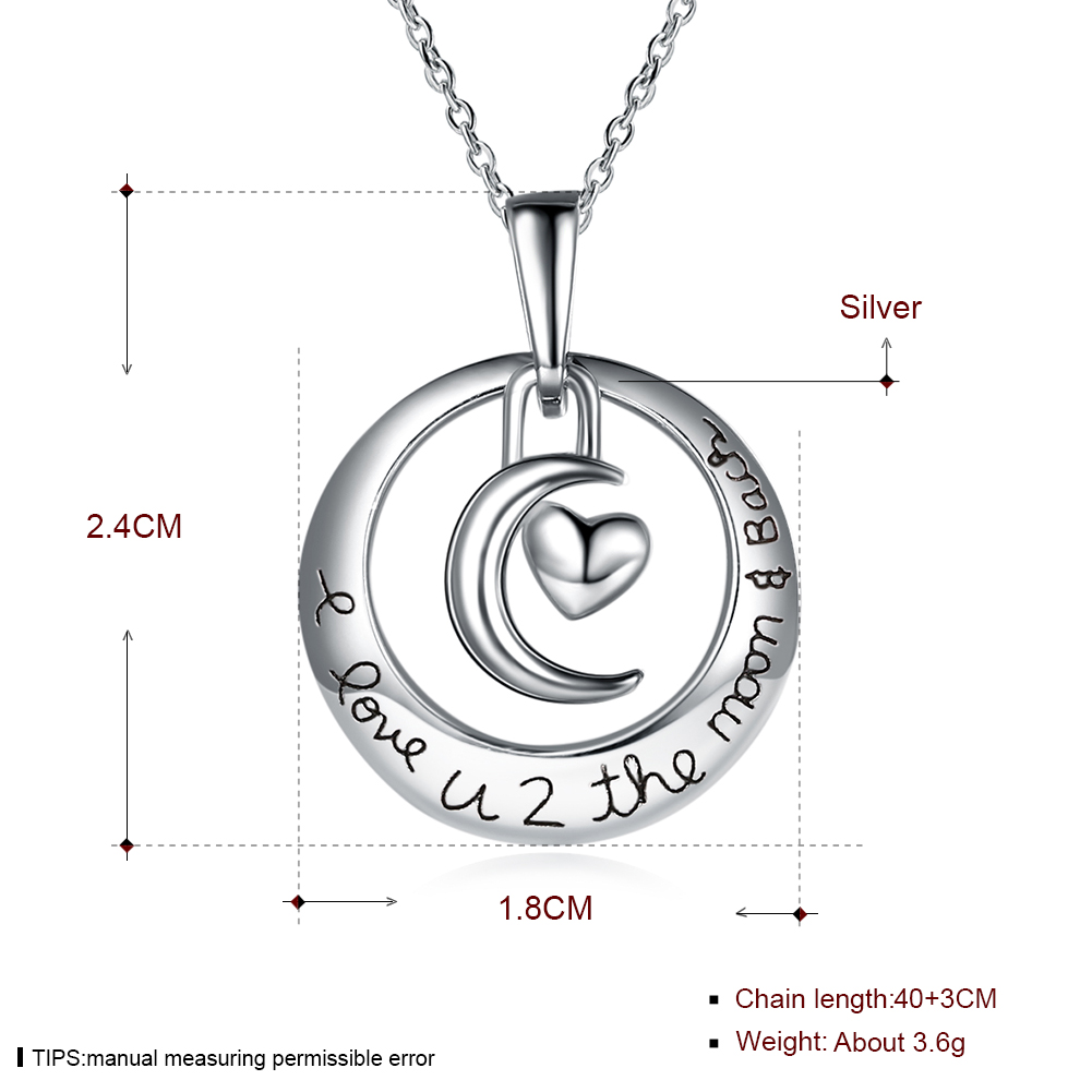 Moon and heart pendant necklace sterling silver on storenvy file 125c4f2197 small aloadofball Images