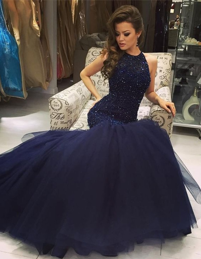 c2f32f8376 Navy Blue Prom Dress With Sequins - raveitsafe