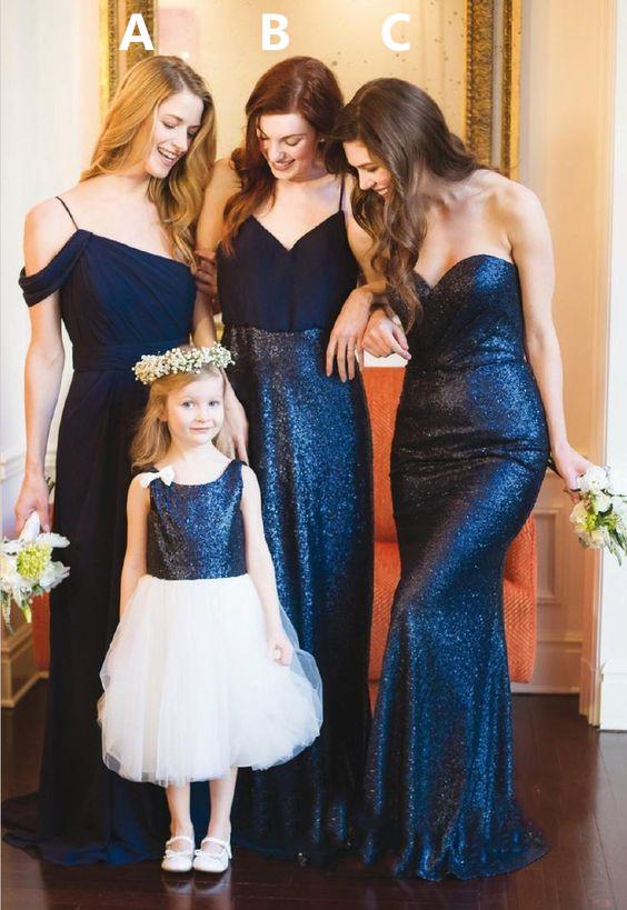 3ef06ba7 Elegant V Neck Navy Blue Long Bridesmaid Dress with Sequins ...