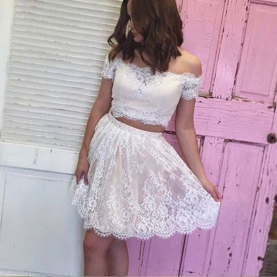 e69340ca4ba3 White Lace Homecoming Dress Off Shoulder Two Piece Short Prom Dresses