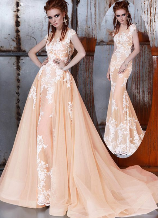 6ebbf7c62f90 Chic Tulle bridal dress, Illusion tulle party gowns, High Collar evening  dress, See