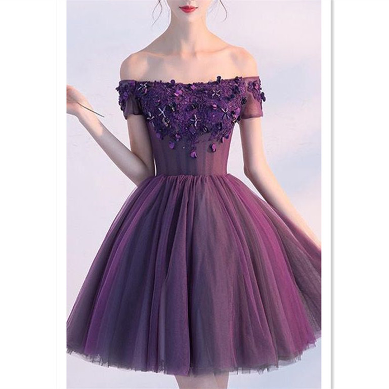 Princess Party Dresses Purple Prom Dresses Short Homecoming