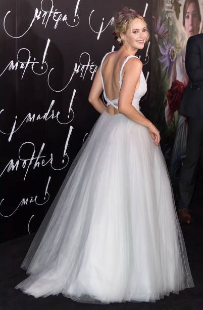 3e8b0dc2fe ... Inspired by Jennifer Lawrence Celebrity Dresses Ball Gown Tulle Deep V  Neck Puffy Ruched Prom Dresses ...