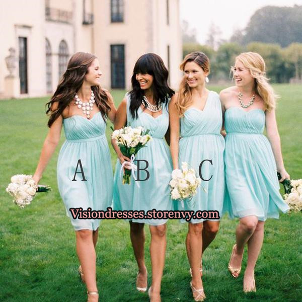 7fef7af9d08a1 Mint Green bridesmaid dresses, Mismatched bridesmaid dresses, Short  bridesmaid dresses, cheap bridesmaid dresses