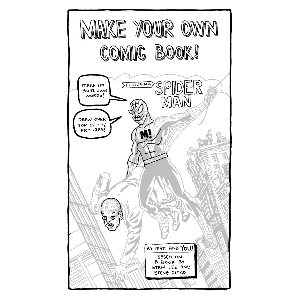make your own comic book featuring spider man on storenvy
