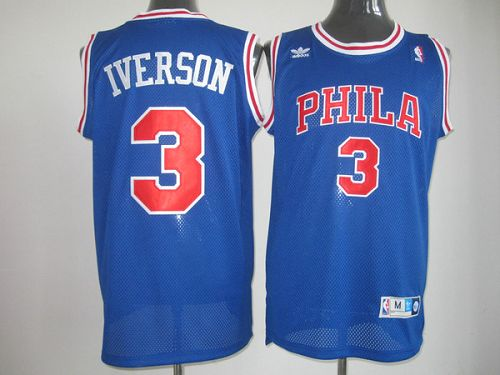 cheaper d9db8 9056d Throwback 76ers #3 Allen Iverson Stitched Blue NBA Jersey sold by  NBAJerseysales1