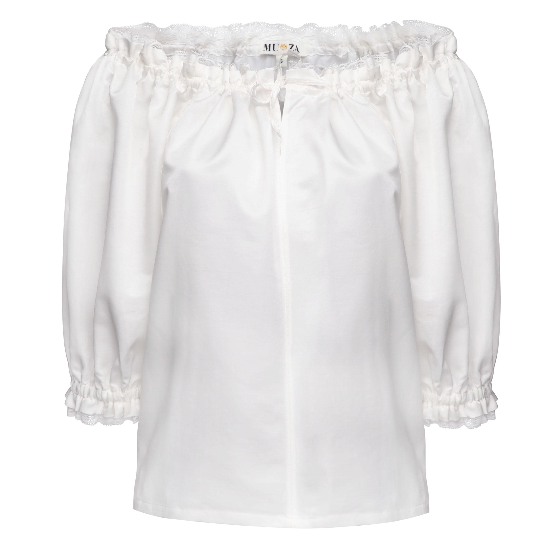 Silk Off The Shoulder Peasant Blouse White Edwardian Blouse
