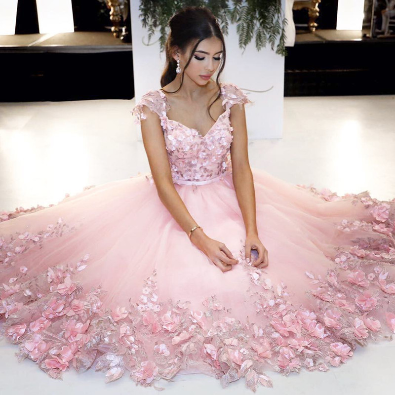 Soft Pink Prom Dressesgorgeous Appliques Prom Dresses Cap Sleeve