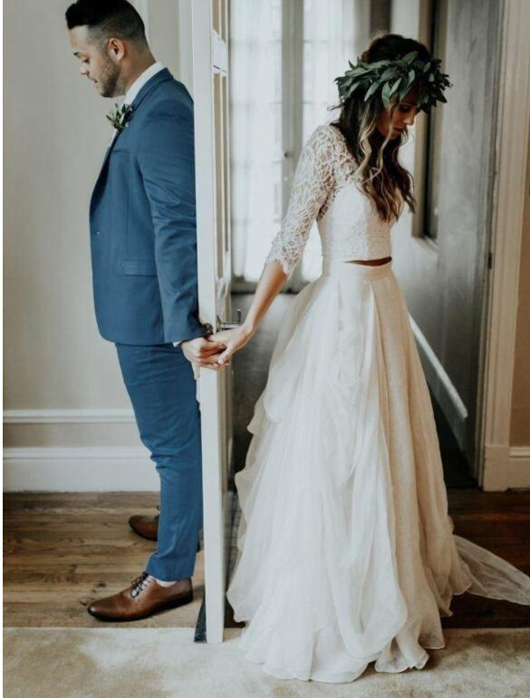 Vintage Two Piece Wedding Dress with Half Sleeves Bridal Gown ...