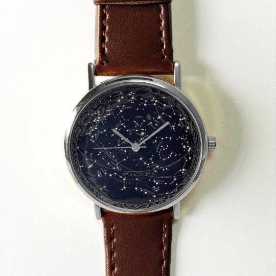 Celestial Map Watch, Men\'s Watch, Constellation Vintage Leather Watch,  Women Watches, Boyfriend Watch, Jewelry, Gold Rose Gold Silver Watch from  ...