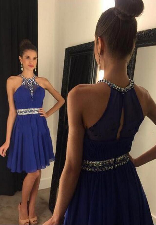 fcaddd6ac4d Sparkly Halter Royal Blue Key Hole back homecoming Dresses, Beading Elegant Short  Homecoming Dresses,
