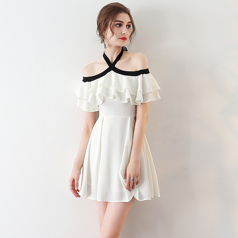 c398e471faa Unique White Chiffon Homecoming Dress
