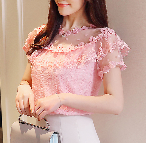 a7e5334cb65 XXS XS S M white pink floral sheer lace short sleeve gyaru top rockabilly  blouse