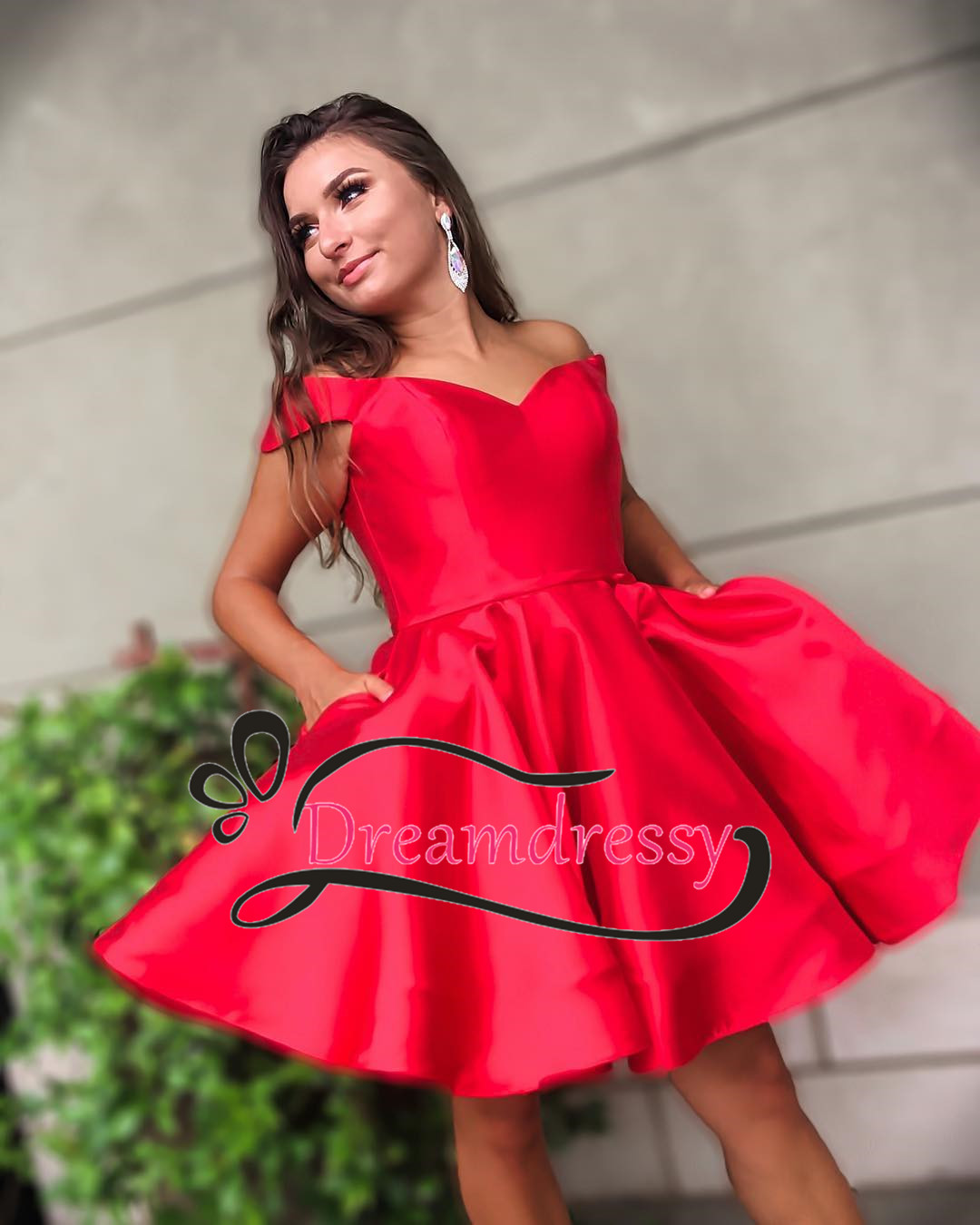 2e797b9259e Off the Shoulder Short Red Homecoming Dress with Pockets ...