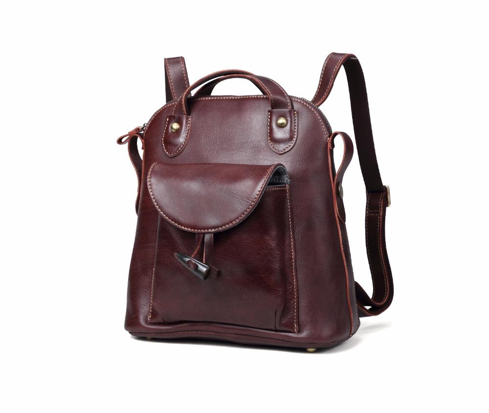 03db1950d6bad 100% Genuine Leather Burgundy Vintage Dual Function Backpack Handbag ...