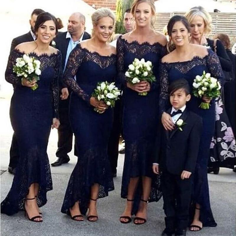 navy blue bridesmaid dresses,lace off