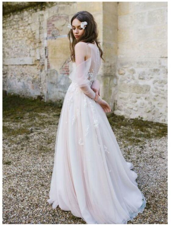 652e2ee5fcb14 Long Sleeve Bohemian Beach Wedding Dresses Cold Shoulder Boho Rustic ...