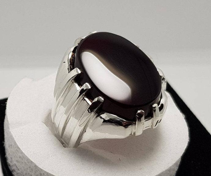 acab9e32bd Unique Mens Kabadi Black Yemeni Aqeeq Ring Shifat Al Abad Akik Ring Agate  Ring Silver Ring Shia Rings new Design Men Rings Sterling Silver Ring Gems  on ...