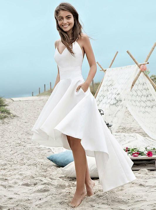 821bc7d4e09 Simple A line V-neck Wedding Dress
