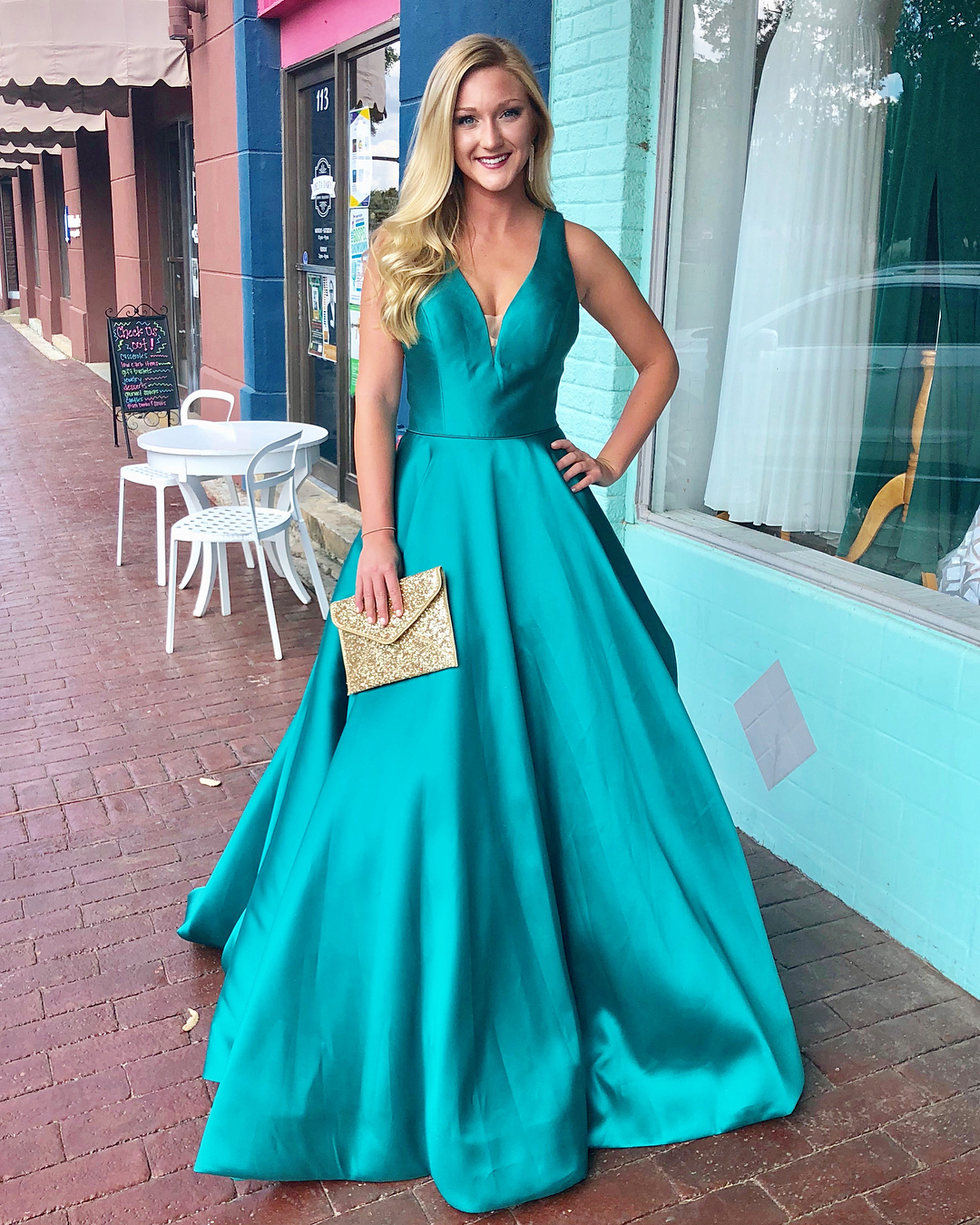 0740ab2107a Elegant V Neck Teal Long Prom Dress · modsele · Online Store Powered ...