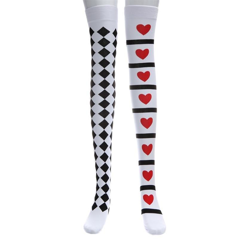 de7c11eb2b4 black white diamond checkered red heart print nylon over the knee thigh  high long socks kawaii