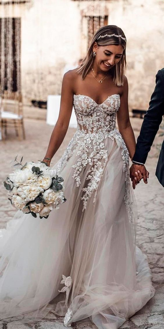 Ball Gown Tulle Light Grey Boho Wedding Dresses Sweetheart Appliques Bridal Gowns Sold By Misszhu Bridal