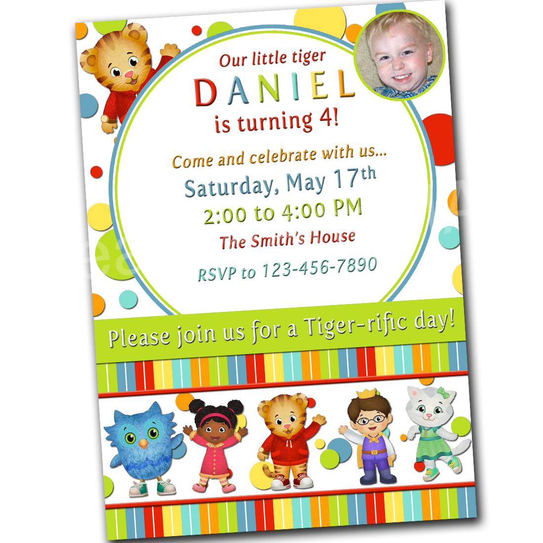 Printable Birthday Photo Invitation Daniel Tiger Invite Tigers Neighborhood 5x7 PRINTABLE Personalized Custom