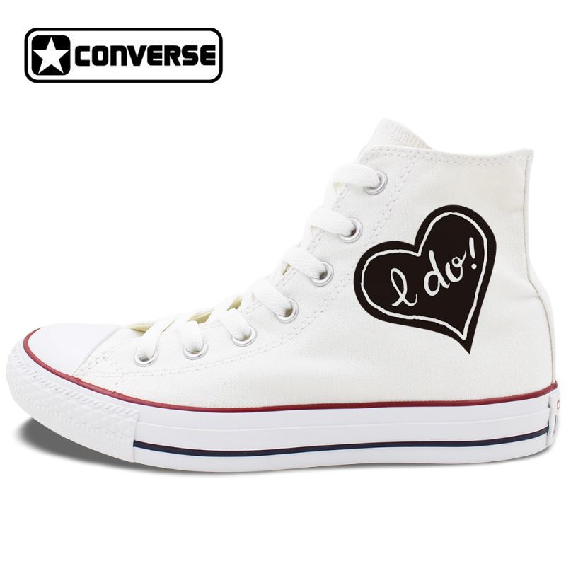 393599158c1 Wedding Shoes White Canvas Shoes Design Proposal Slogan High Top Converse  All Star Chuck Sneakers on Storenvy