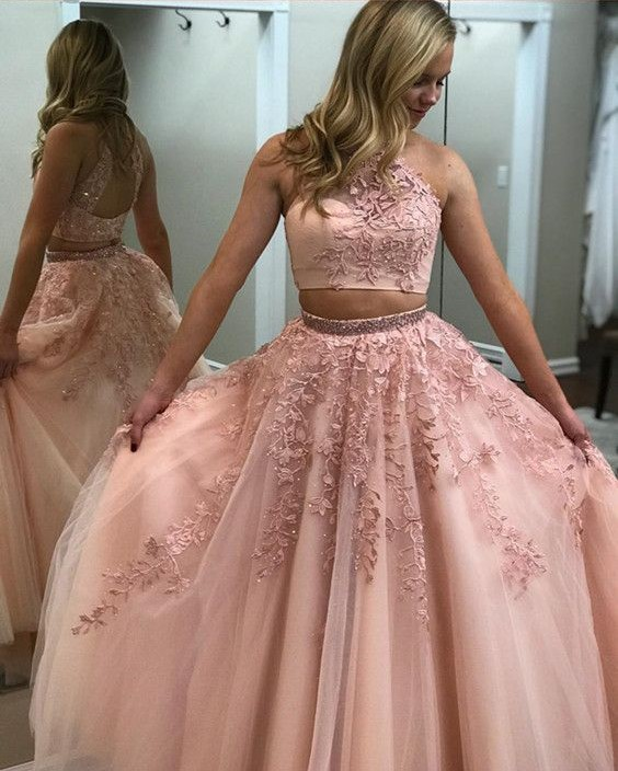 327195a5c7f Pink Two Piece Prom Dress 2018 Beaded High Neck Lace Appliques Sexy Open  Back Tulle Floor