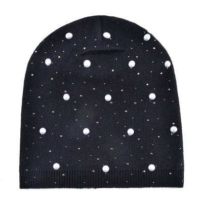 Ladies Fashion Rhinestone Pearls Beanie Women Autumn Winter Knitted Hats  Women s Solid Color Bonnet Caps Female 50b97d89ea5