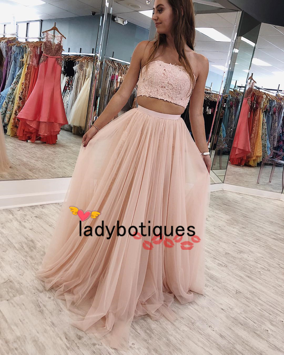 1c99d5823c4 Two Piece Pink Long Prom Dress Strapless on Storenvy