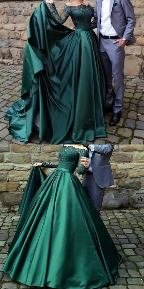 Modest Dark Green Party Dress Off The Shoulder Prom